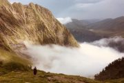 Cloud inversion hiking Pyrenees