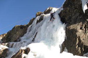 Frozen waterfall ice climbing