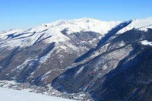 Paragliding down to Luchon Pyrenees