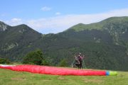 Preparing for Paragliding take off in Pyrenees