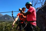 Preparing for the tyrolean travers high ropes adventures