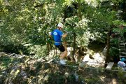 Testing balance on a high ropes adventure course