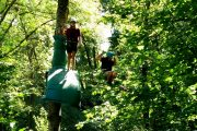 Having fun on a high ropes Pyrenees adventure course