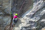 Gutsy girls enjoy rock climbing in the Pyrenees