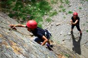 Concentrating whilst rock climbing in the French Pyrenees