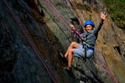 Kids love rock climbing in the Pyrenees