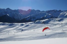 Winter paragliding Superbagneres Pyrenees