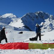Preparing the paragliding canopy Pyrenees
