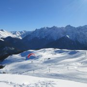 Winter paragliding in the high Pyrenees