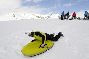 Airboard fun on a winter adventure holiday