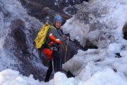 Winter canyoning preparation in the Pyrenees