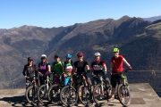 Women mountain biking holiday group Pyrenees
