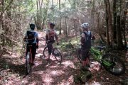 Womens's mountain biking woodland riding