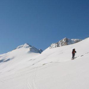 Ski touring up to Pic Aneto
