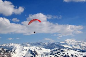 Paragliding in the Pyrenees in winter
