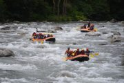 River rafting on the Garonne river in the Pyrenees