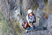 Heading on up the via ferrata in the Pyrenees
