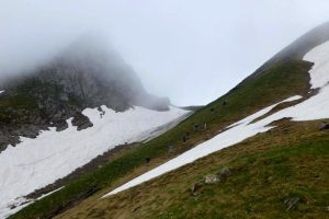 Hiking over the pass on the Freedom Trail Ariege Pyrenees