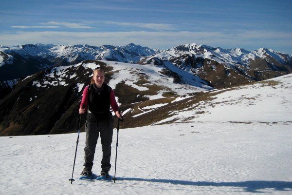 Pam on a Pyrenees snowshoeing adventure