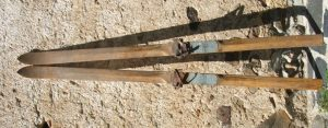 Old wooden cross country skis