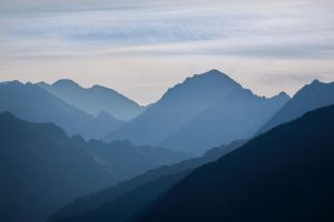 Dusk in the Pyrenees mountains