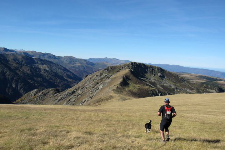 Fun descent on a mountain running holiday