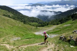 Descending on a trail running holiday