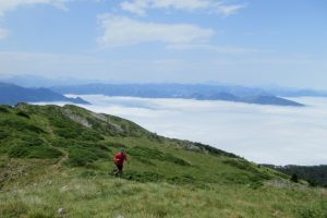Mountain running above the clouds
