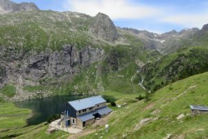 Typical environment of a mountain refuge in Pyrenees