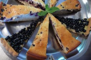 Homemade bilberry tart from foraged bilberries