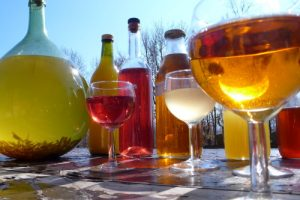 Homemade Pyrenees cordials and wine