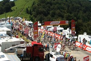 TDF peloton arriving at col de Portel in the Pyrenees