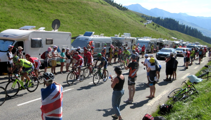 Watching the Tour de France in the Pyrenees