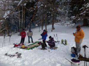 Enjoying a chocolate fondue on a family snowshoe adventure
