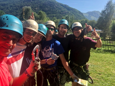 High ropes adventures single parent dads adventure holiday in the Pyrenees