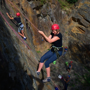 Rock climbing on a family adventure holiday in the French Pyrenees