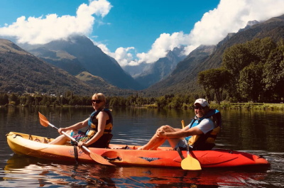 Lake kayaking on a family adventure holiday
