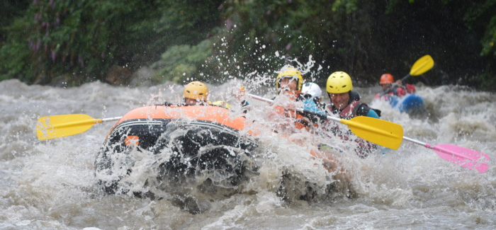 River rafting on a family multi activity adventure holiday