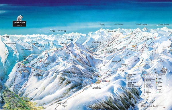 Map of the slopes at saint lary soulan ski resort