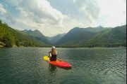 Meditative SUP with mountain views