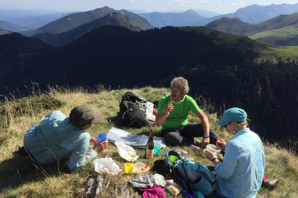 Picnic on a Pyrenees mountain hike