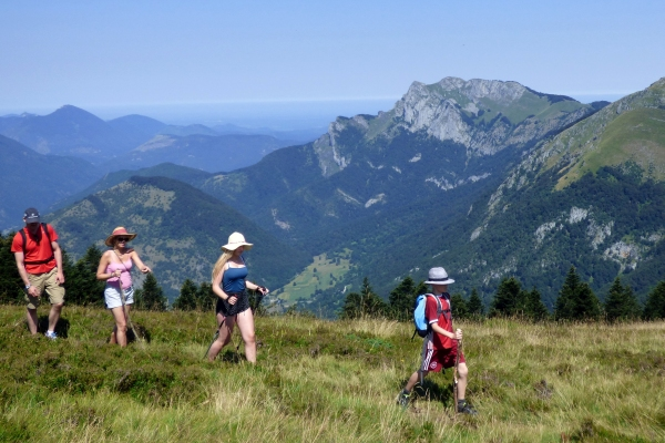 Family hiking in the French Pyrenees