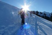 blue skies ski touring