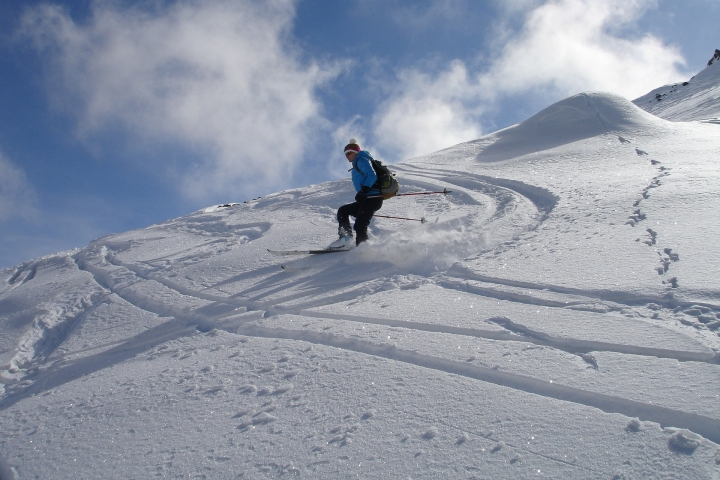 enjoying the powder ski touring