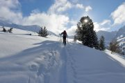 skinning up on ski touring skis