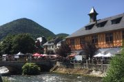 Pyrenees market town on the river