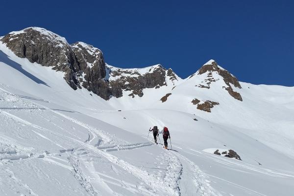 Ski touring uphill