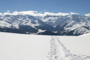 snowshoeing tracks in the Pyrenees