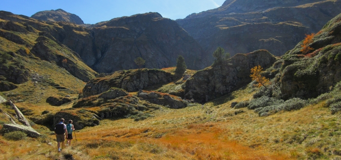 Autumn hiking scene in the French Pyrenees