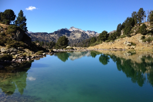 Reflections in a Pyrenees mountain lake